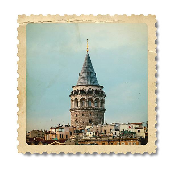 винтажный башня галата (galata) (обтравка - каракёй стамбул стоковые фото и изображения