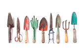 istock Vintage garden tools collection isolated on white 1126036503