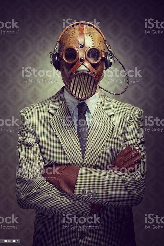 Vintage Gasmaske und Kopfhörer – Foto