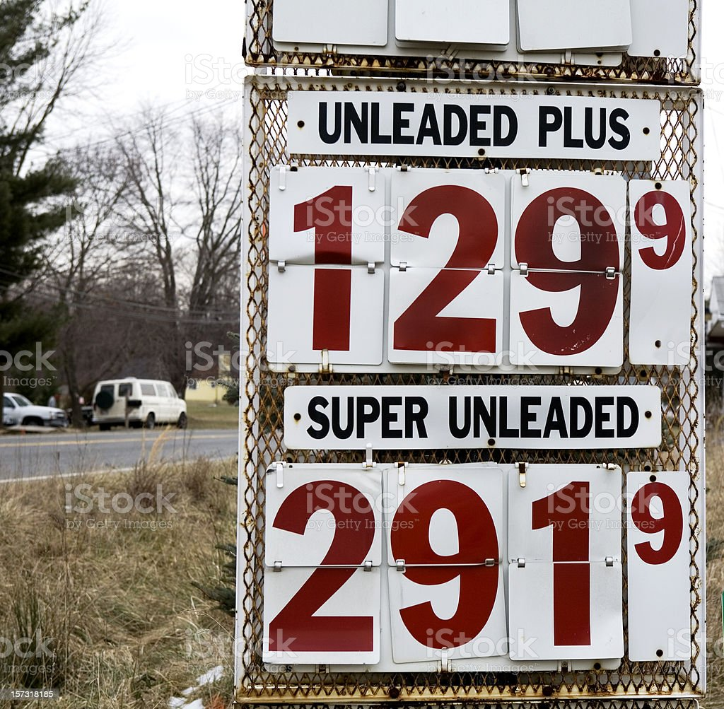 Vintage Gas Prices Sign royalty-free stock photo