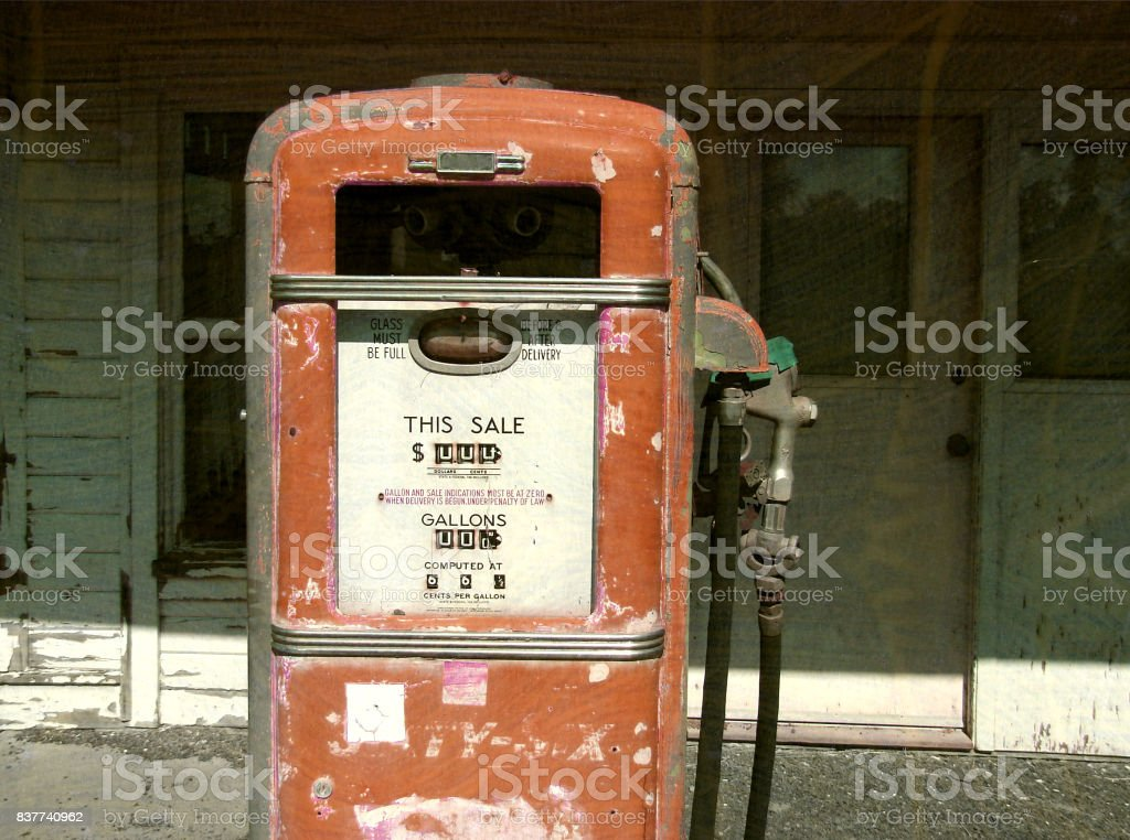 vintage gas pump stock photo