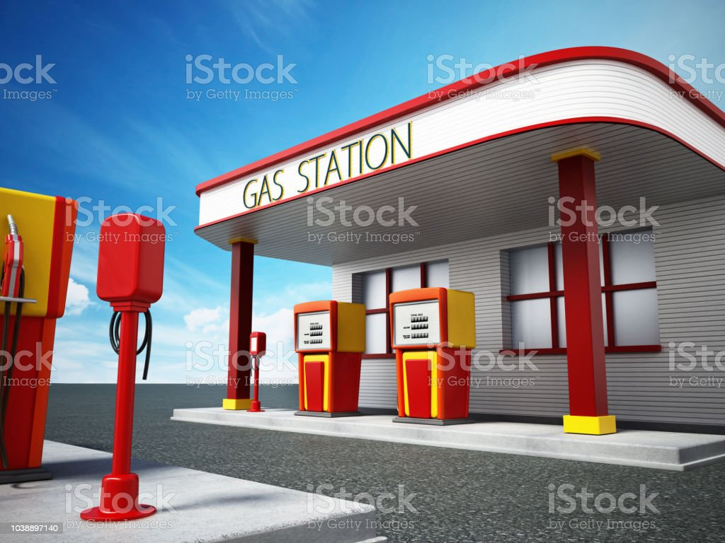 Vintage Gas Station Stock Photo - Download Image Now - iStock