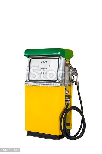 Yellow and green vintage gasoline fuel pump dispenser isolated with clipping path