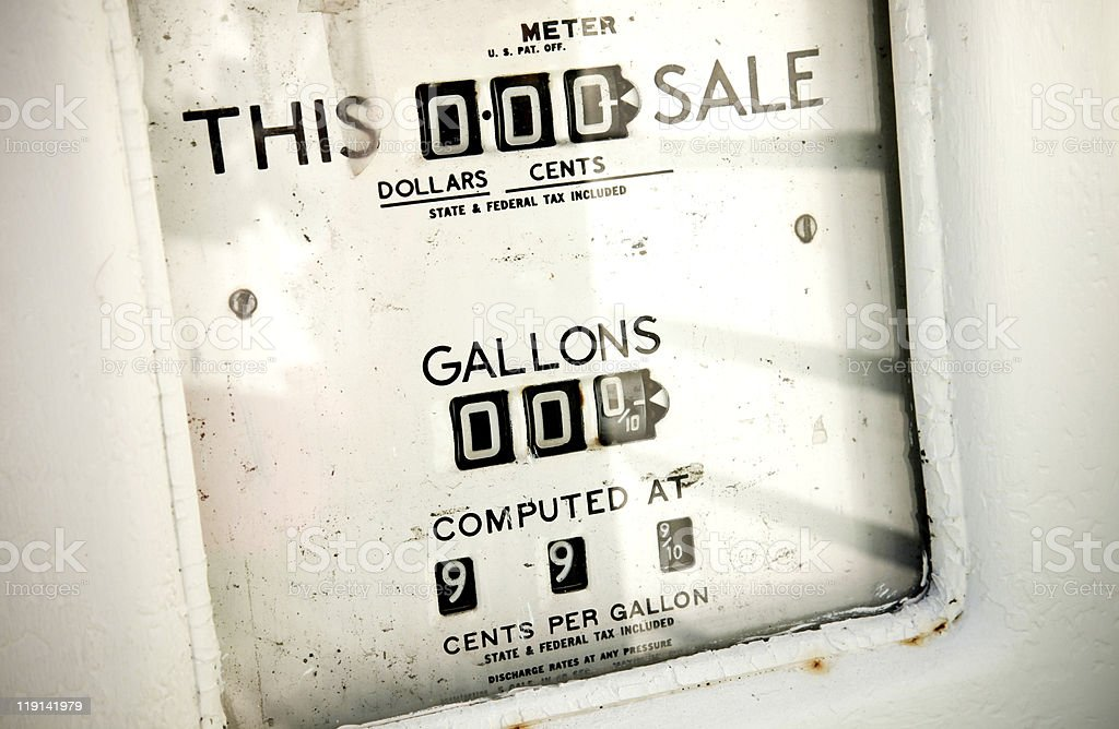 Vintage gasoline pump stuck at 99.9 cents royalty-free stock photo