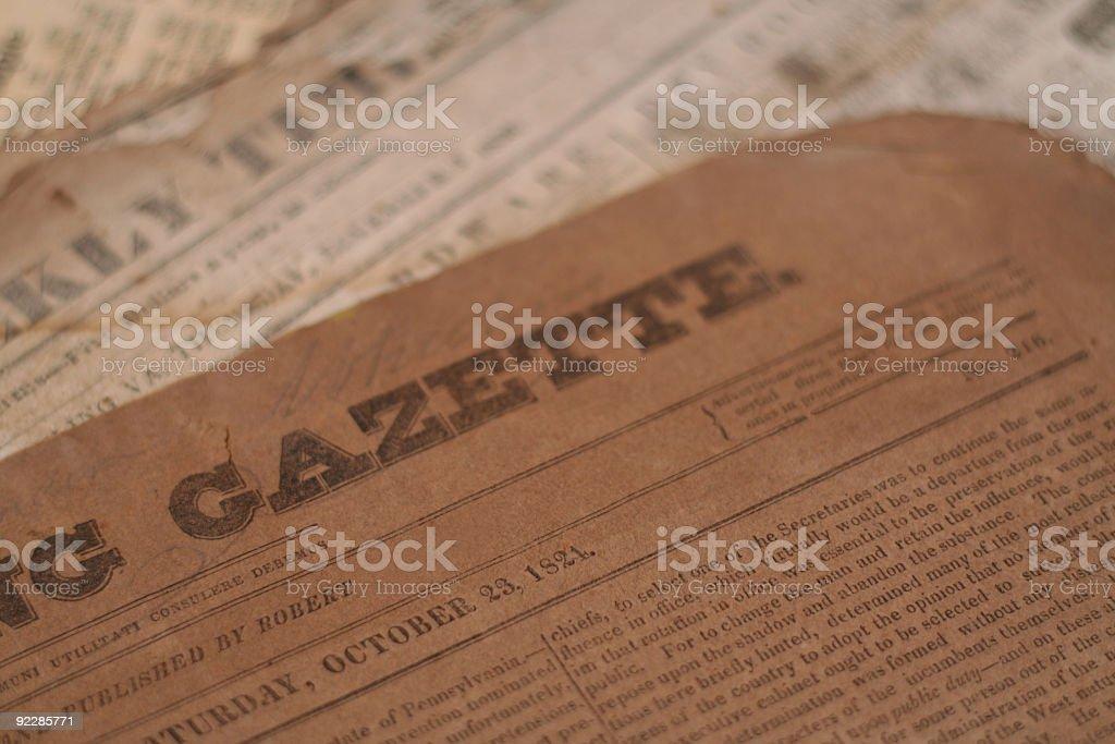 Vintage gazette printed on parchment paper royalty-free stock photo