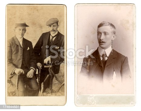 Two vintage photos of men from the late victorian and early edwardian period.