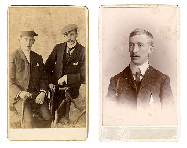 Vintage gentlemen Two vintage photos of men from the late victorian and early edwardian period. edwardian style stock pictures, royalty-free photos & images