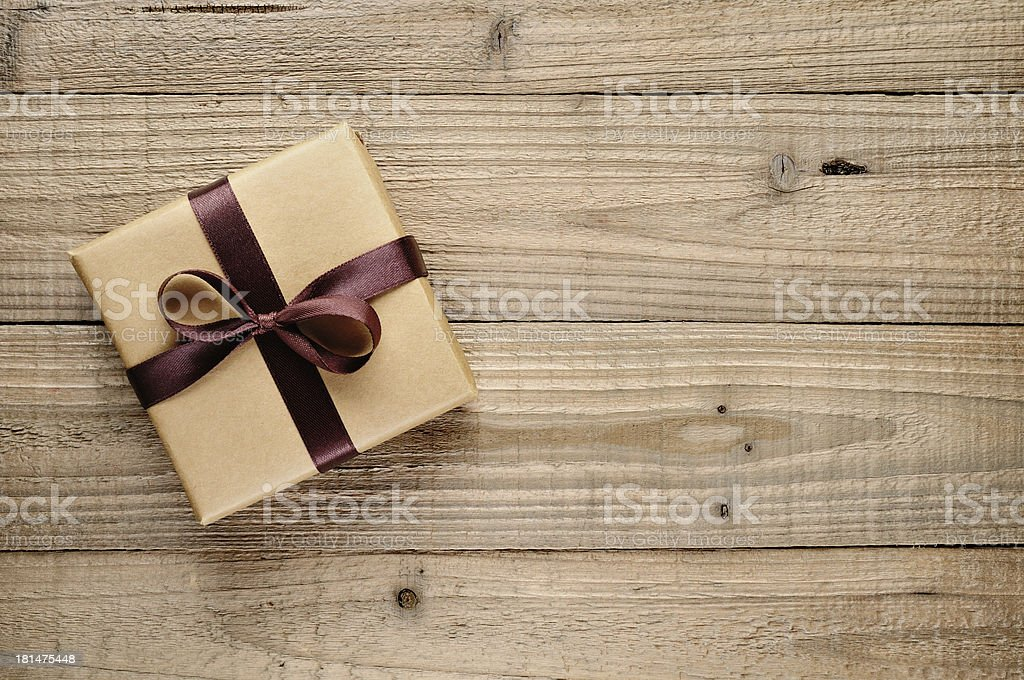 Vintage gift box with bow stock photo