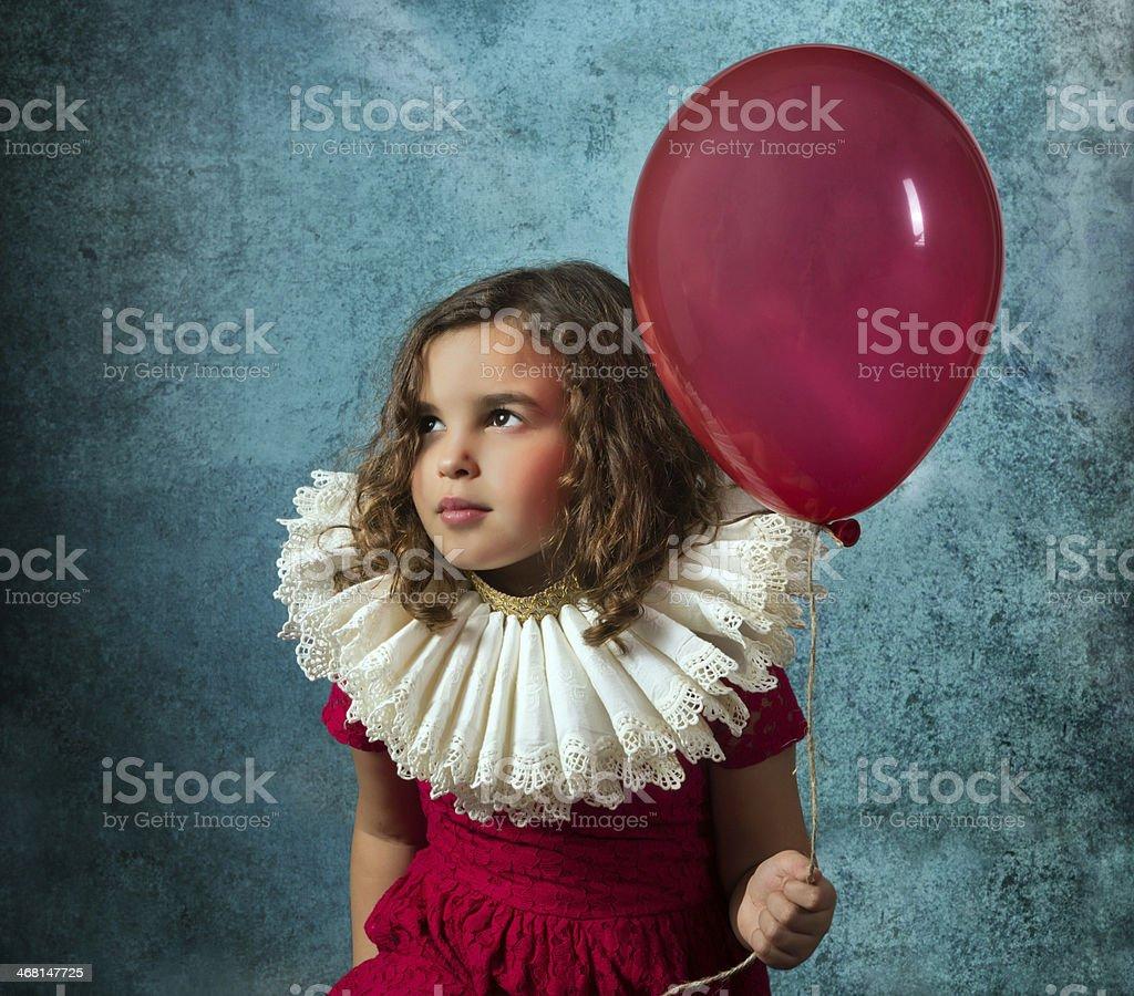 Vintage girl with balloon stock photo