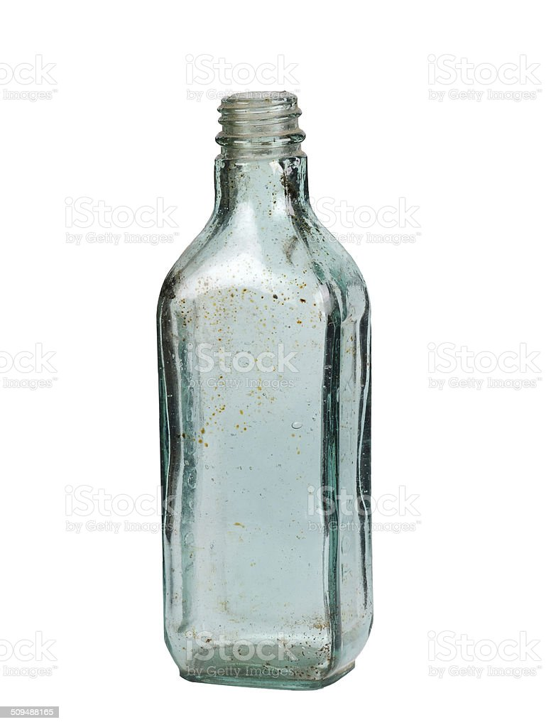 Vintage Glass Bottle Isolated on White Background stock photo