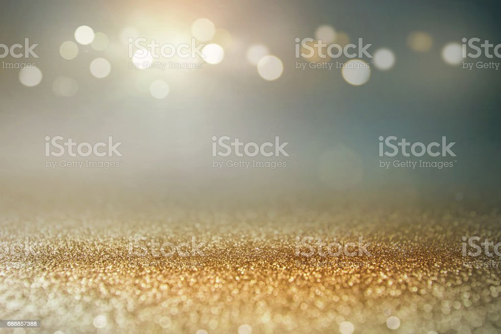 Vintage glitter gold, dark blue and black lights bokeh background. stok fotoğrafı