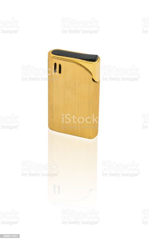 Vintage gold cigarette lighter isolated on white background with path selection stock photo