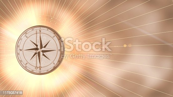 1149464558 istock photo Vintage gold compass on blurred background. Retro stale 1175037418