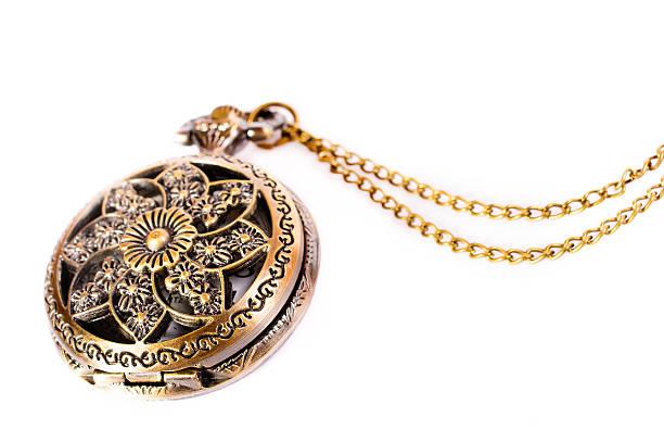 cobre relógio de bolso de ouro vintage isolado - porta retrato imagens e fotografias de stock