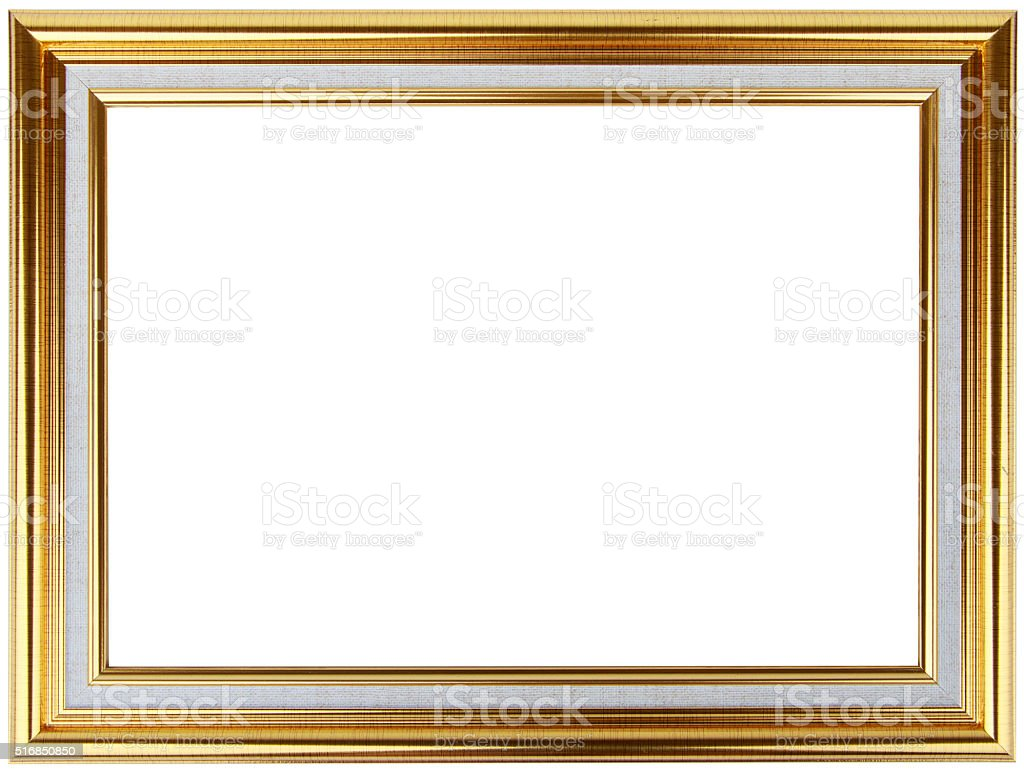 Vintage Gold Frame Design With White Thin Borders Stock Photo More
