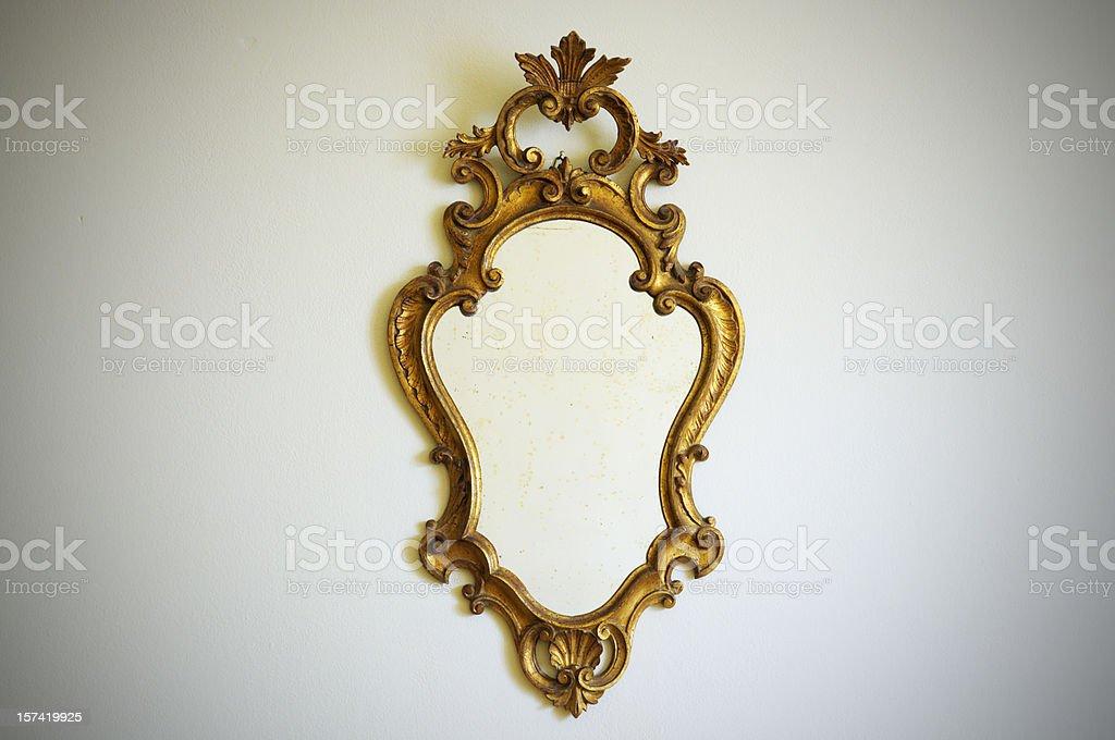 Vintage Gold Mirror stock photo