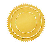 Vintage gold seal isolated on white