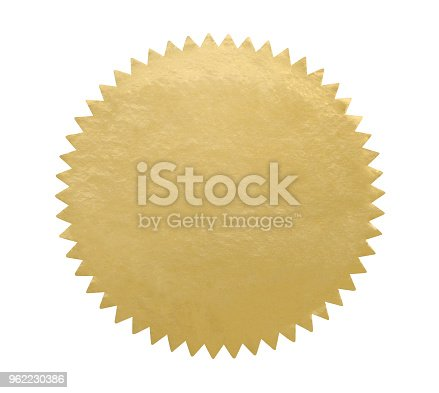 Vintage gold seal isolated on white (excluding the shadow)