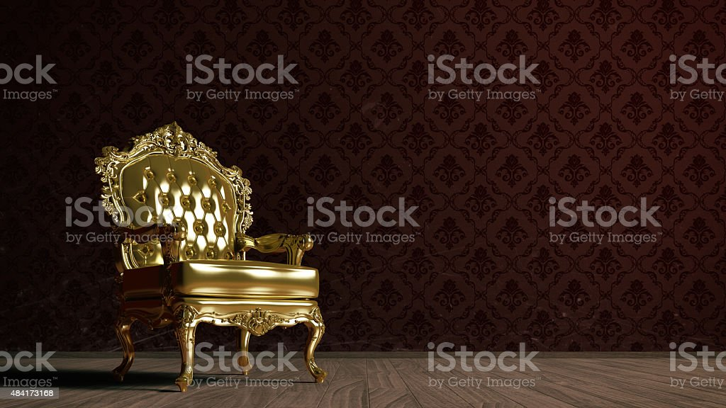 Vintage golden armchair stock photo