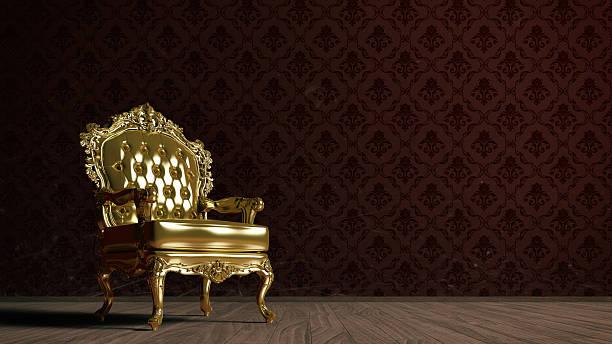 Vintage Golden Armchair Stock Photo