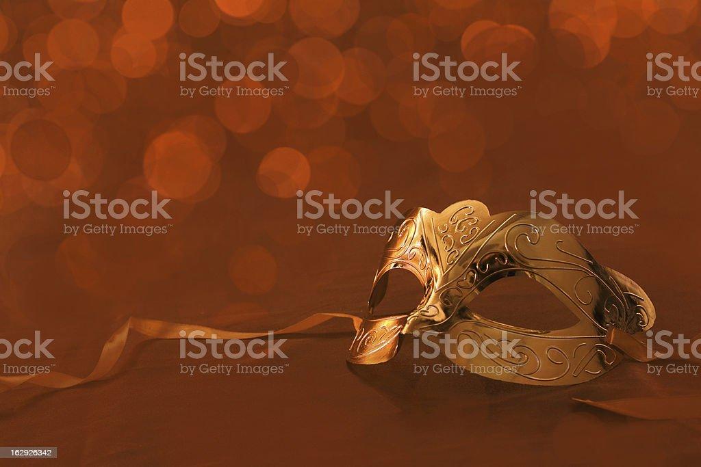 Vintage golden carnival mask stock photo