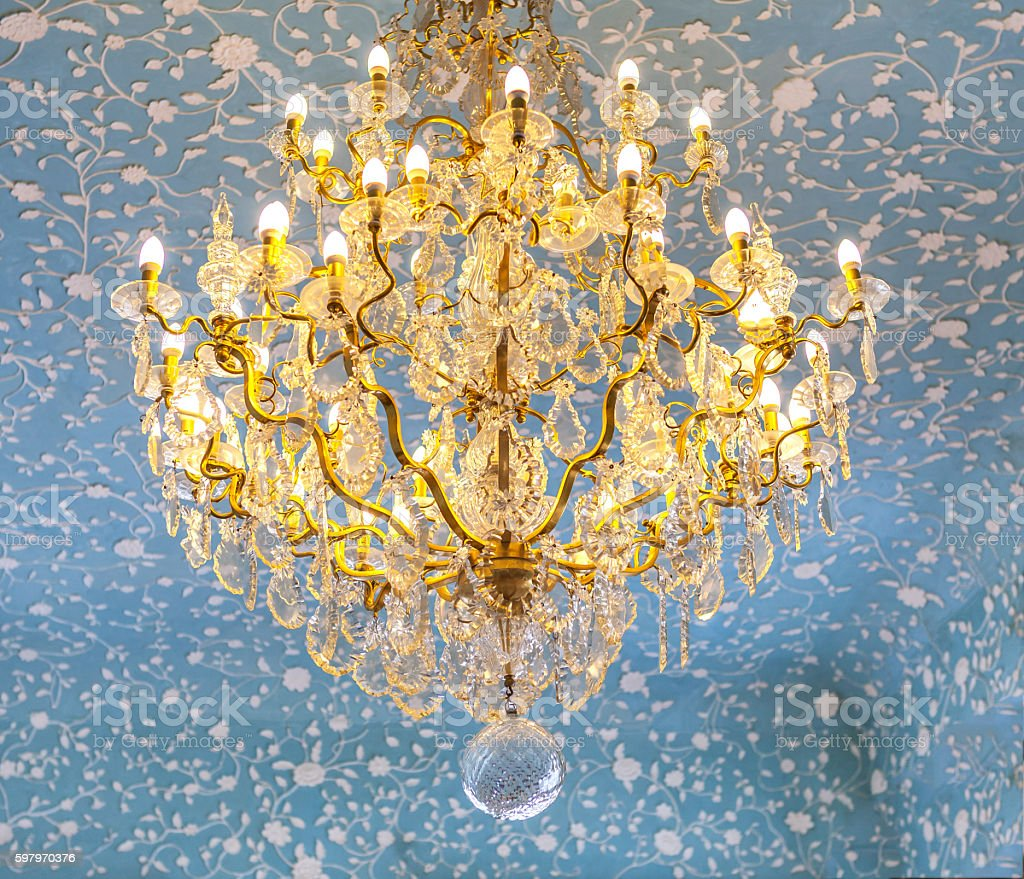 Vintage golden chandelier in the Baroque and Rococo style. stock photo