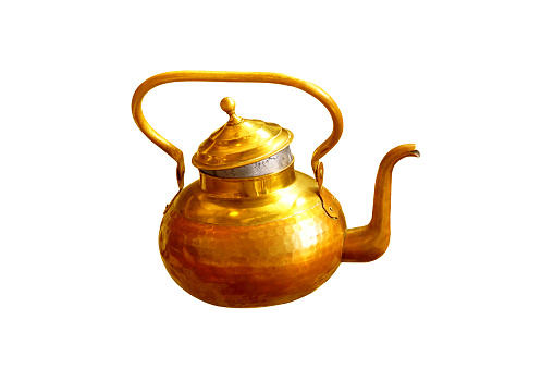 686515422 istock photo Vintage golden copper kettle isolated on white background. Oriental  teapot 1214781311