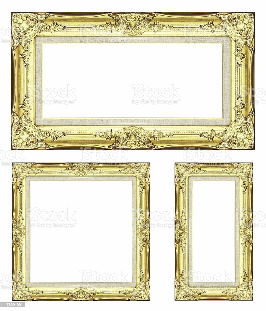 405d8d2759f Vintage Golden Frame With Blank Space And Clipping Path Stock Photo ...