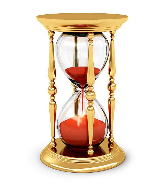 vintage golden hourglass - zandloper icoon stockfoto's en -beelden