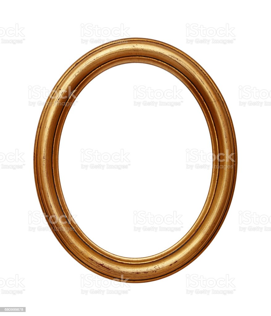 Vintage golden oval round picture frame stock photo