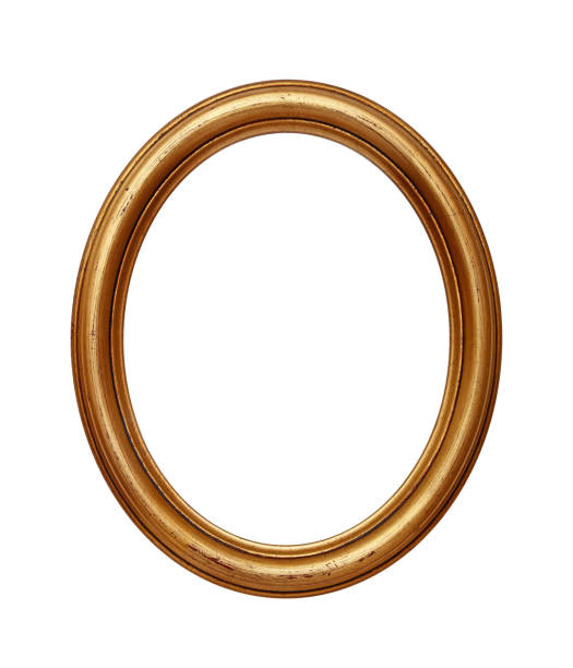 vintage golden oval round picture frame - ellipse stock photos and pictures