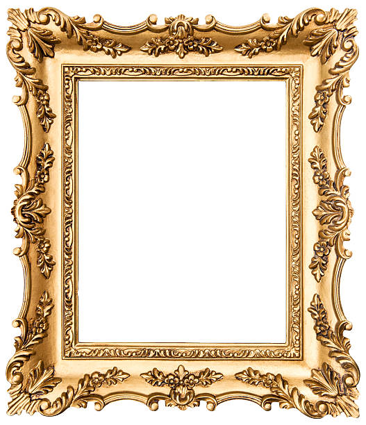 vintage golden picture frame isolated on white - 巴洛克風格 個照片及圖片檔