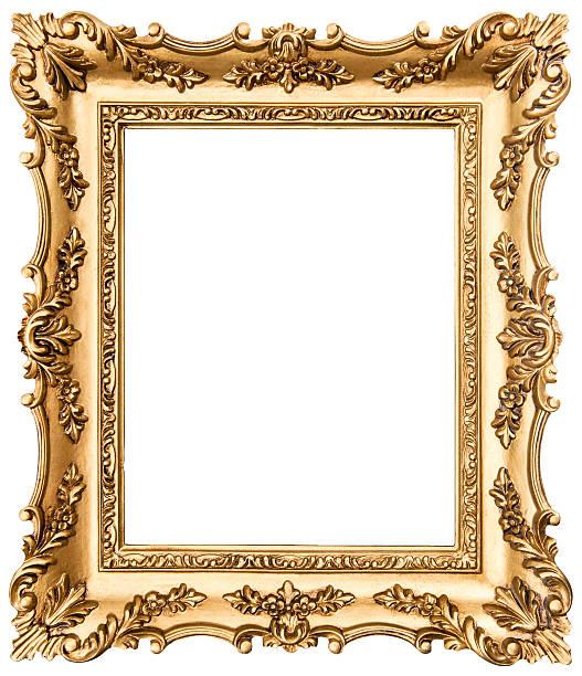 vintage goldene bilderrahmen, isoliert auf weiss - barock stock-fotos und bilder