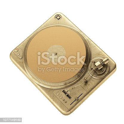 Vintage Turntable Record Player Design on white background