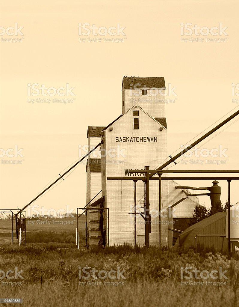 Vintage Grain Elevator in Sepia royalty-free stock photo