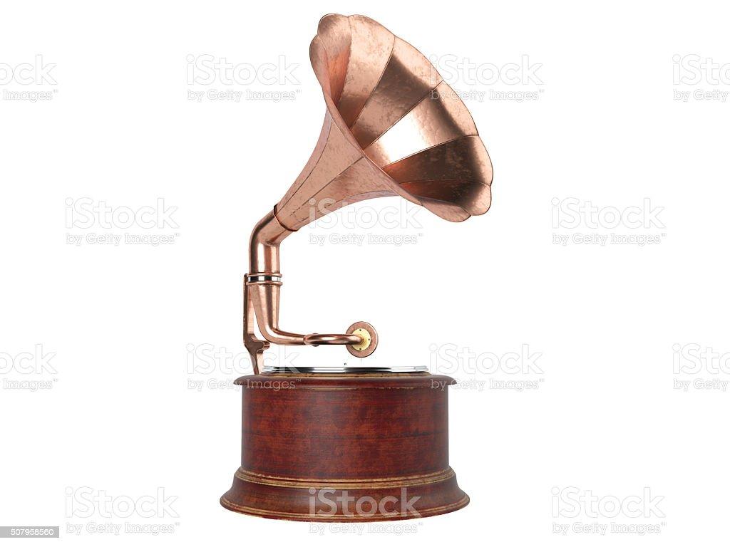 Vintage gramophone isolated stock photo