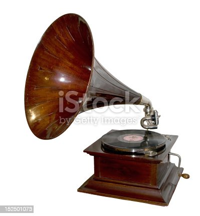 vintage gramophone isolated on white background