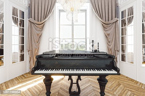 Vintage grand piano in the baroque style room.