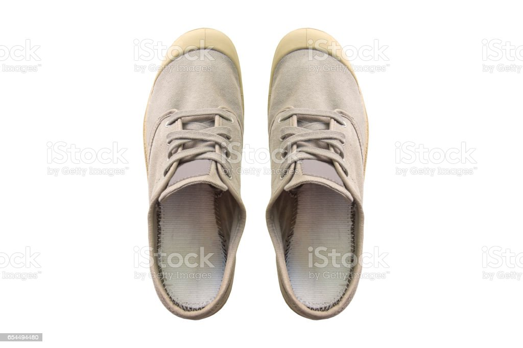 Vintage gray shoes isolated on white background stock photo