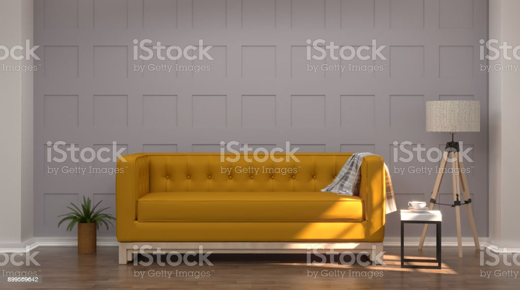 Vintage gray white room interior yellow sofa In front of gray wall modern mid Century room interior wooden floor stock photo