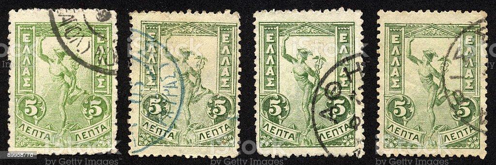 Vintage Greek Stamps 1901 Green Flying Mercury, Ephemera. royalty-free stock photo