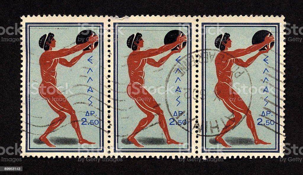 Vintage Greek Stamps 1960, Ephemera. stock photo