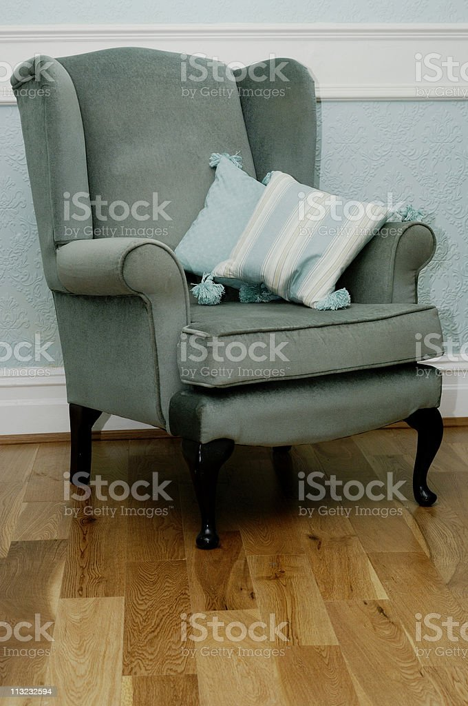 vintage green chair in sitting room royalty-free stock photo