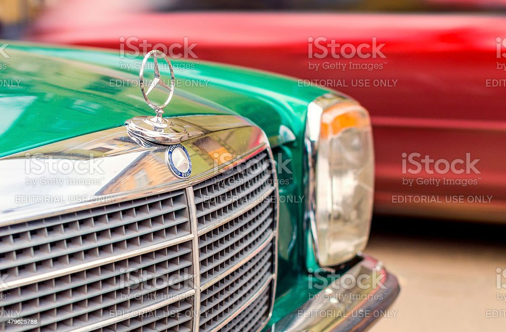 Vintage green Mercedes-Benz stock photo