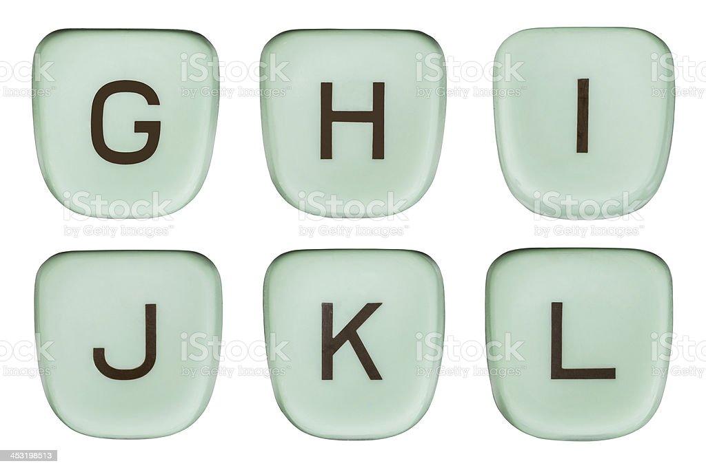 Vintage Green Typewriter Keys Letters G Through L stock photo