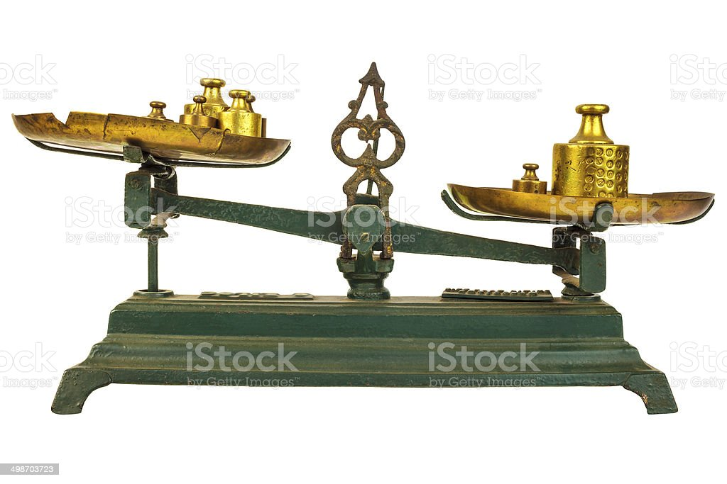 Vintage green weight balance scale isolated on white stock photo