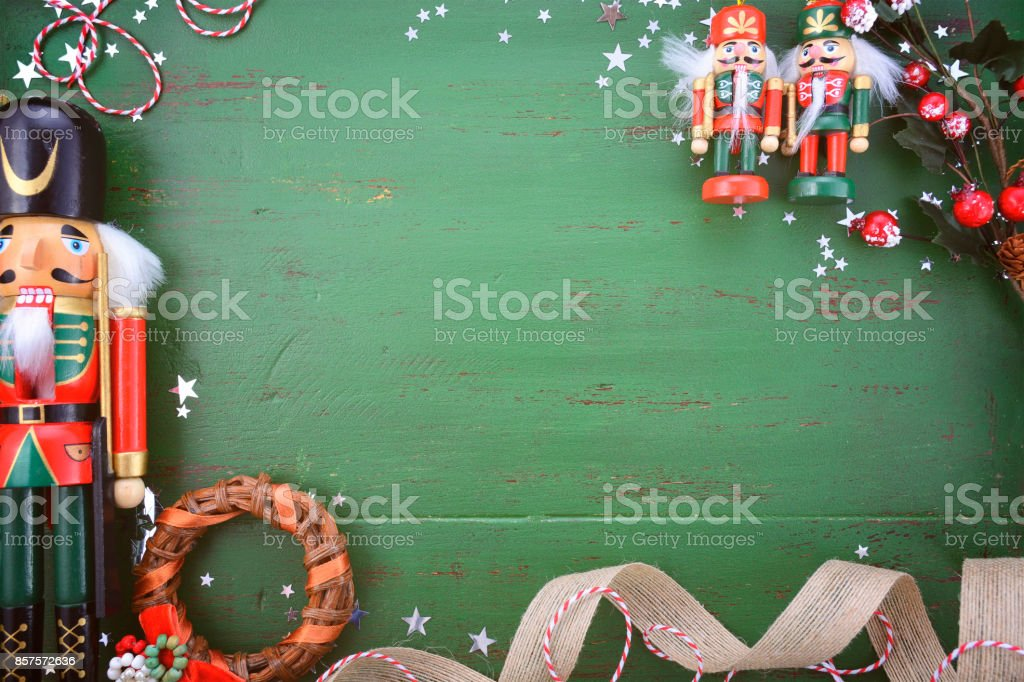 Christmas In Australia Background.Vintage Green Wood Christmas Holiday Background Stock Photo