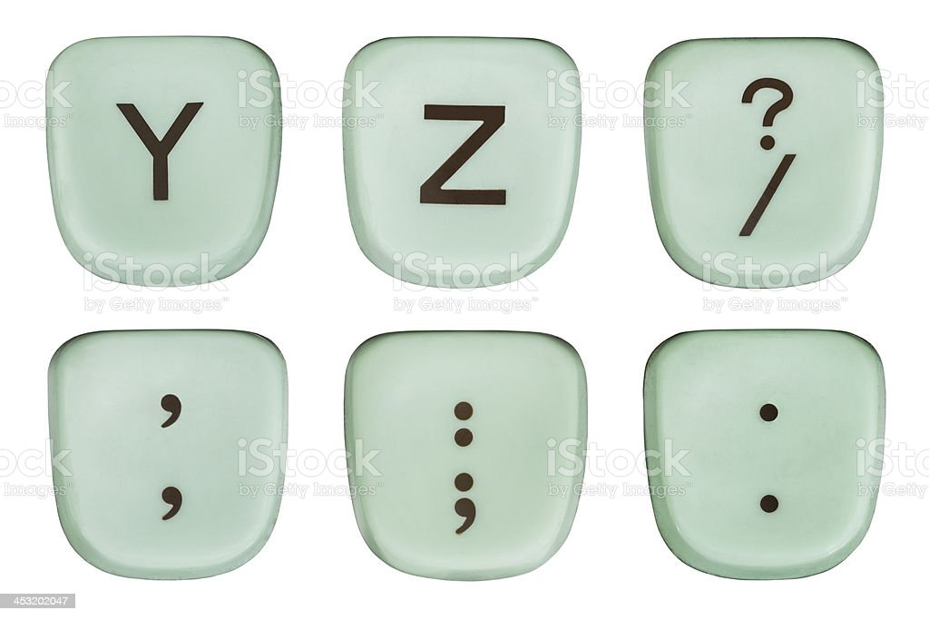 Vintage Green Y and Z Typewriter Keys royalty-free stock photo