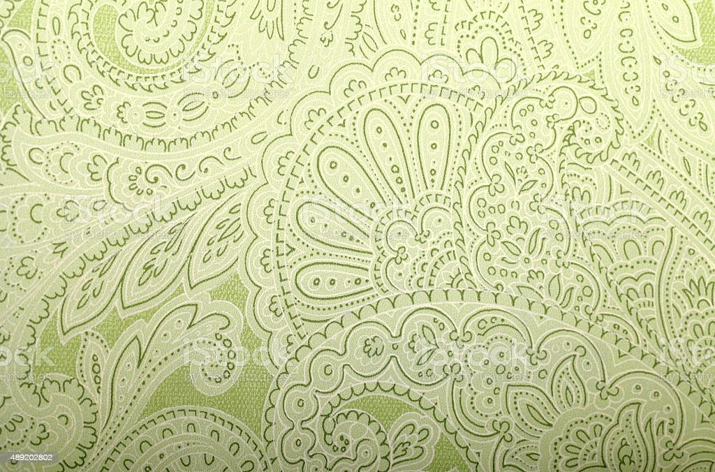 Vintage grey and green wallpaper with paisley pattern stock photo