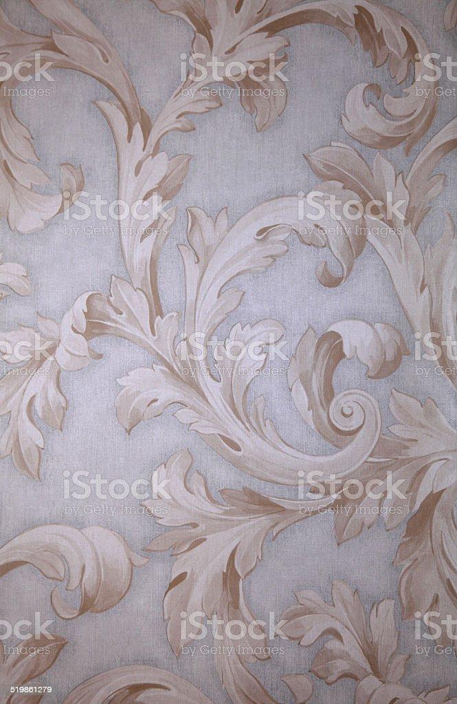 Vintage grey victorian wallpaper with beige baroque vignette stock photo
